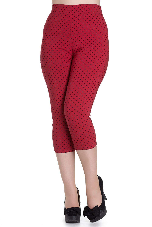 Kay Rouge Polka Dot Années 50 Vintage Pantalon Style Capri 3/4 Pantalon Trois-quarts
