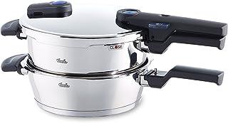 Fissler vitaquick / Juego de olla y sarten a presión (2,5 + 4,5 litros, Ø 22 cm) de acero inoxidable, 2 unidades, apto para todo tipo de cocinas, incluida inducción