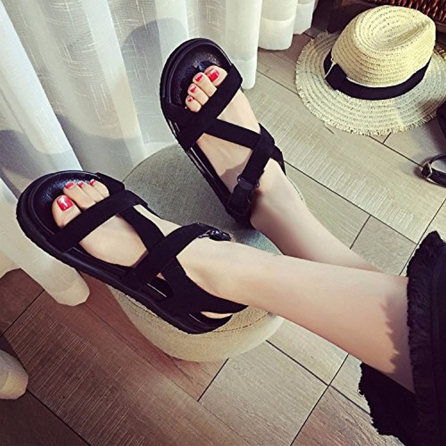 KAI-Flat sandals sandals with flat sandals all-match pure leather flat Rome female,black,Thirty-seven