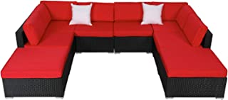 8 PCs Outdoor Patio Furniture Set, Wicker Sofa Lounge Chairs PE Rattan Seating with Cushions Pillows and Ottomans