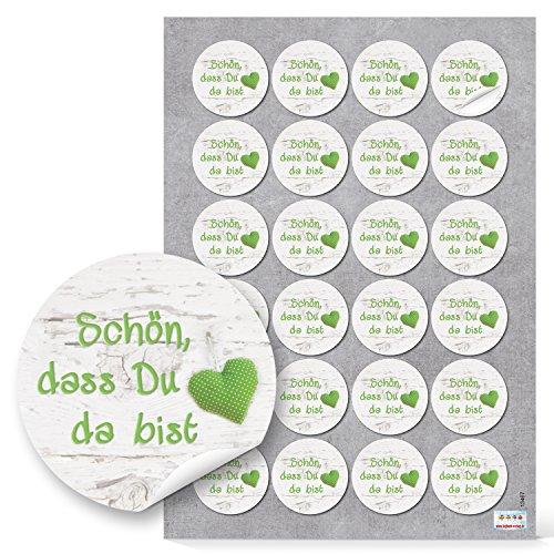 Logbuch-Verlag 48 Aufkleber SCHÖN DASS DU DA BIST grün weiß mit Herz - rund ∅ 4 cm - Geschenkaufkleber Gastgeschenke Hochzeit Taufe Kommunion
