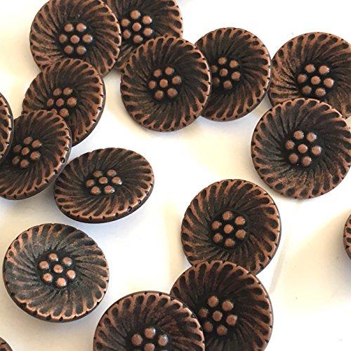 18mm koper metalen decoratieve blazer knoppen met bloem patroon - pak van 10