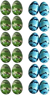 Blue and Green Camouflage Plastic Eggs for Easter Hunts - 2 Packages of 12 Each Color