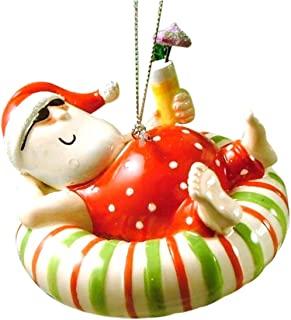 Cape Shore Santa Relaxing on an Inner Tube Float with a Tropical Drink Ornament