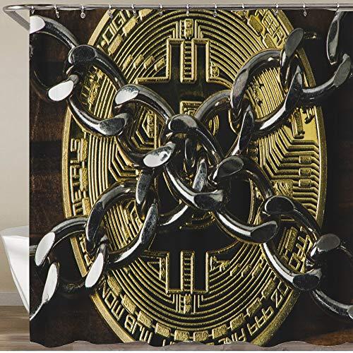 FOURFOOL Cortinas de Ducha,Conceptos de Seguridad de Cadena y Bitcoin sobre Fondo Oscuro,Impermeable Cortinas Baño y Lavables Cortinas Bañera 180x180CM