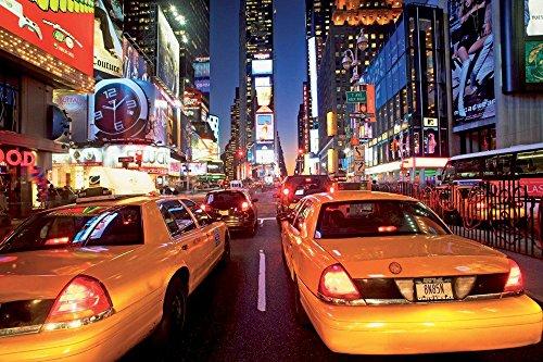 empireposter New York Times Square Taxi Foto-Tapete 4-teilig - Fototapete Wallpaper 232x315cm. Beigelegt sind eine Packung Kleber und eine Klebeanleitung.