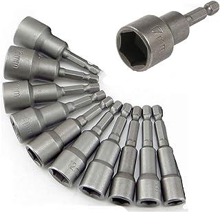 KRW ソケットアダプター 六角シャンク 6mm~19mm 10本セット マグネット ソケットビット ショートソケット セット インパクトドライバー 電動ドリル用