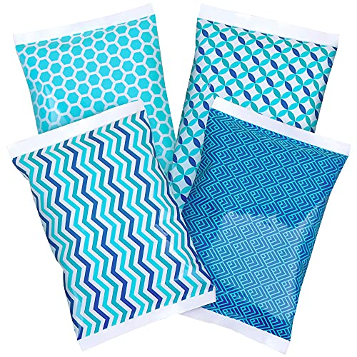Ice Pack for Lunch Boxes - 4 Reusable Packs - Keeps Food Cold – Cool Print Bag Designs - Great for Kids or Adults Lunchbox and Cooler (Blue Geometric Prints)