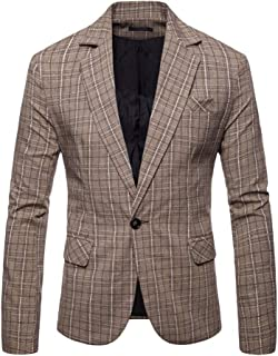 YOUTHUP Mens Slim Fit Plaid Blazer Fashion Check Daily Suit Jacket Casual Sports Coat