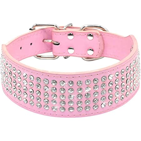 Pink Rhinestone BLING Dog Collar Crystal  2 WIDE Big Dog Collar Elegant Sparkly Fancy Nylon Plastic Buckle  Glam
