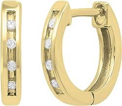 Dazzlingrock Collection 0.05 Carat (ctw) 14K Gold Round Diamond Ladies Huggie Hoop Earrings