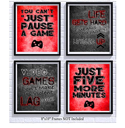 Video Game Themed Art Print Room Wall Decoration (Set or Four) Gamer...