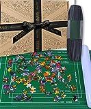Jaques of London - Tappetino puzzle fino a 2000 pezzi, con panno pieghevole e tappetino per puzzle, tubo interno gonfiabile con indicazioni per le dimensioni del seghetto alternativo.