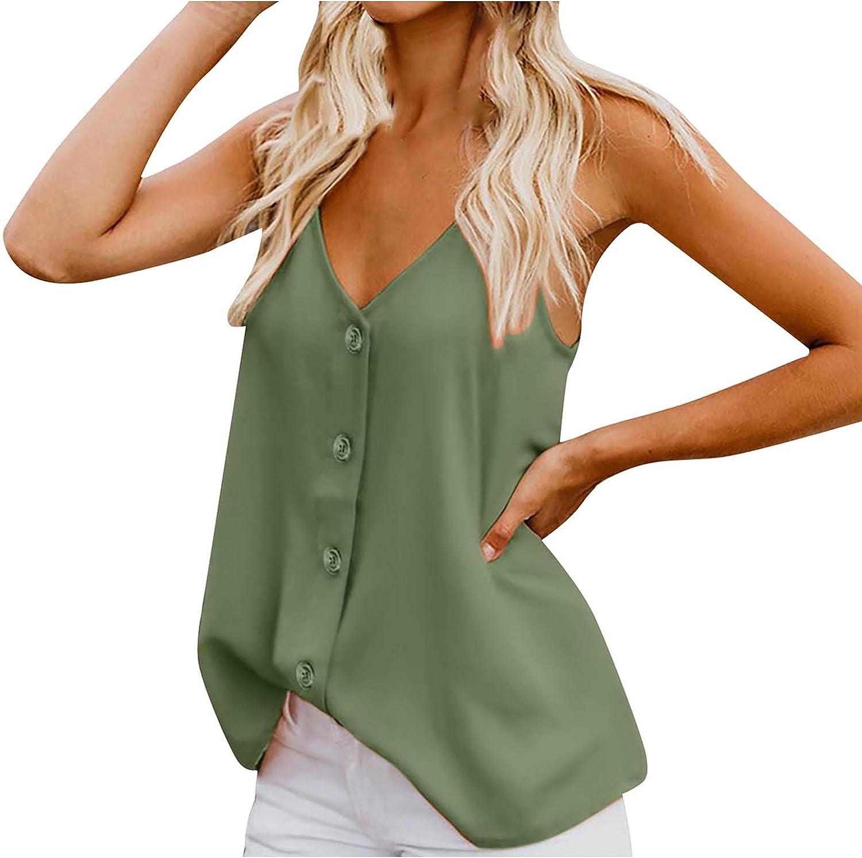 SHOPESSA Womens Camisole Tank Tops V Neck Button Sleeveless T-Shirt Summer Beach Blouse Shirts