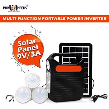 Pick Ur Needs® Emergency Portable Inverter with 3 Individual 6 Volt Led Bulbs with 3.75 Meter Long Wire & AC/DC USB Socket with Free USB Wire for Mobile Charging with Solar Panal (2390)