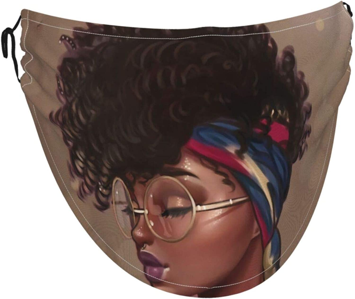 African American Black Girlface Mask With Adjustable Ear Loops Cloth Reusable Face Face Mask Is Made Of Soft And Skin-Friendly Ice Silk Fabric