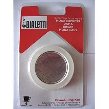 Bialetti 3 Replacement Seals and 1 Filter for 6 Cup Moka Express Blister Pack