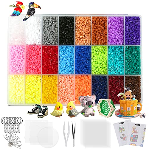 24000 Fuse Beads, 24 Color 2.6mm Mini Fuse Beading Kit with Pegboards Ironing Paper for Party Craft