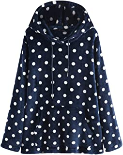 Winter Warm Hoodies Polka Dot Pullover Sweaters for Women Tunic Hooded Pockets Tops