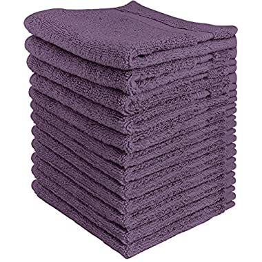 Utopia Towels Luxury Cotton Washcloth Towels Set (12 Pack, Plum, 12x12 Inches) Multi-purpose Extra Soft Fingertip towels, Highly Absorbent Face Cloths, Machine Washable Sport and Workout Towels