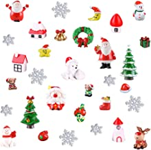 Benvo 32 Pcs Christmas Miniature Ornaments for DIY Fairy Garden Dollhouse Snow Globes Xmas Decoration Kit DIY Accessory Includes Santa,Christmas Trees,Snowman,Snowflake,Red Socks,Reindeer, etc