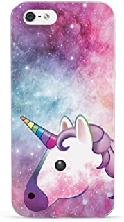Inspired Cases - 3D Textured iPhone 5/5s/SE Case - Protective Phone Cover - Rubber Bumper Cover - Case for Apple iPhone 5/5s/SE - Space Unicorn Emoji Case