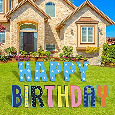 """TOP4EVER Happy Birthday Lawn Signs with Stakes -15"""" Colorful Yard Signs,13Pcs Party Decor Signs Weatherproof Corrugated Plastic for Backyard Celebration and Outdoor Party Decorations"""