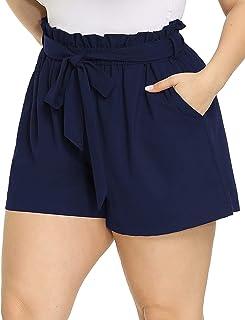 Hanna Nikole Plus Size Women's Casual Elastic Waist Bowknot Summer Beach Shorts with Pockets