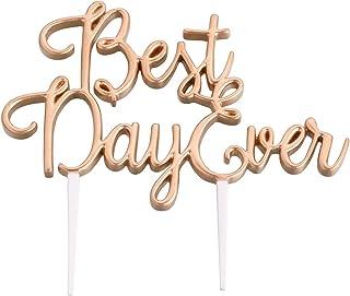 "Lillian Rose 5.25""x3.25"" Gold Best Day Ever Wedding Cake Topper"