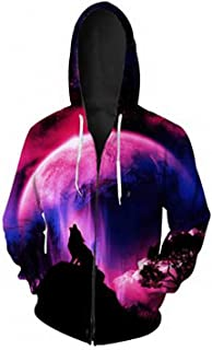 Men Harajuku Realistic 3D Digital Print Space Wolf Hoodie Zip Up Sweatshirt