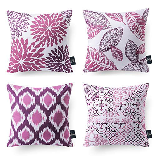 Phantoscope Set of 4 Decorative New Living Series Purple and Grey Throw Pillow Case Cushion Cover 18 x 18 inches 45 x 45 cm