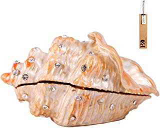 H&D Metal Glass Small Seashell Figurine Collectible Ring Jewelry Holder Trinket Box(Conch)