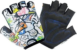 QCHOMEE Girls Boys Stylish Biking Gloves Half Finger Sport Gym Fitness Gloves MTB Racing Mitts Non-Slip Shockproof Breathable Short Finger Summer Gloves Mountain Road Biking Gloves