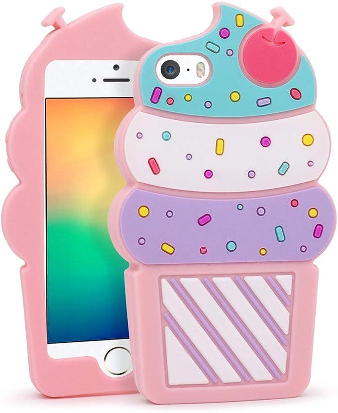 iPhone 5S Coque, iPhone 5 Coque, iPhone SE Coque, 3d mignon Dessin animé Cherry Cupcakes en forme de crème glacée doux Coque en silicone Bumper Coque ...