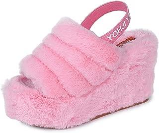 Women's Furry Wedge Slipper Sandals Peep Toe Slip On Warm Fur High Heeled Platform Slide Sandal