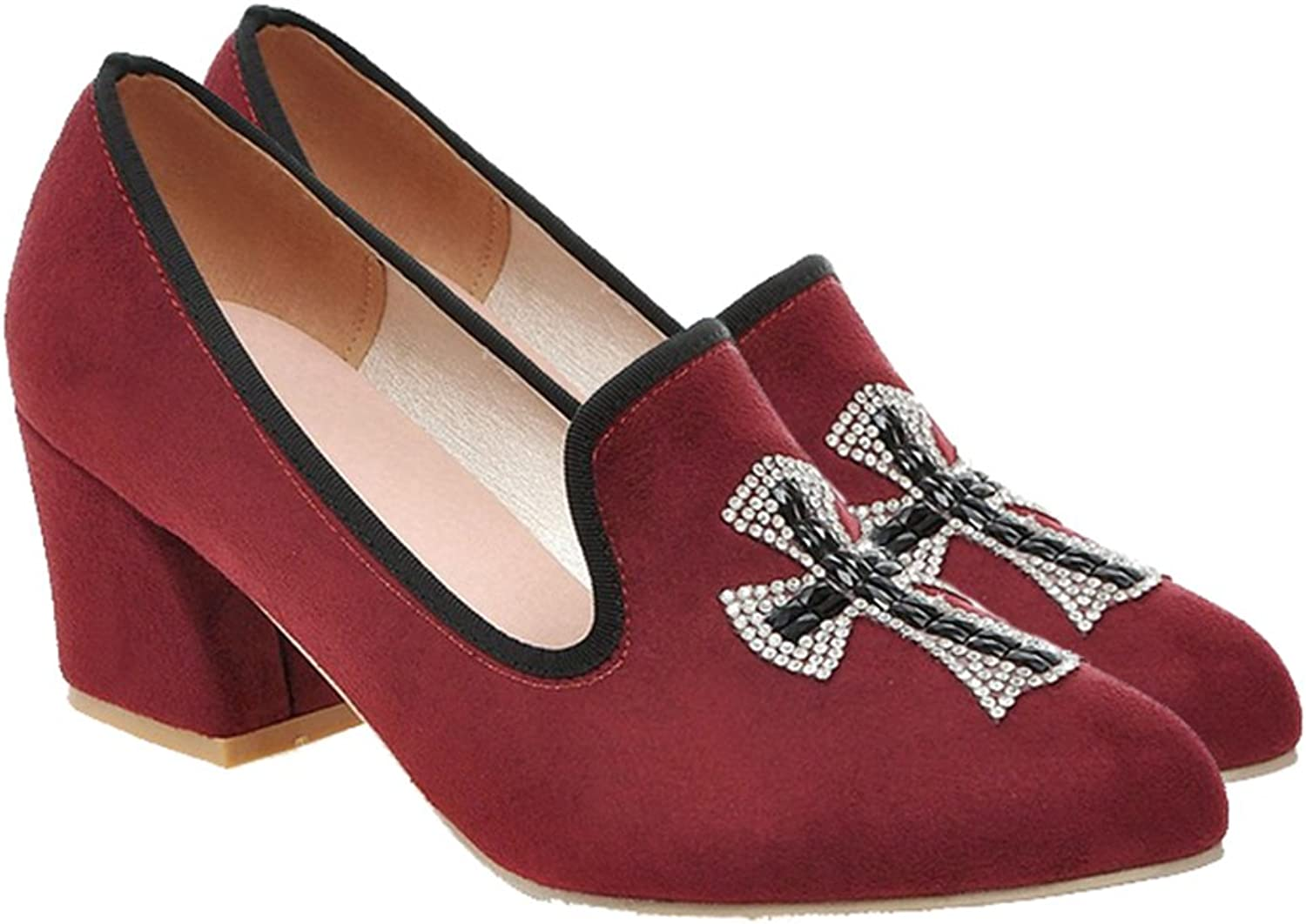 Middle Heel Thin shoes Fluff Pointed Low Uppers Casual wine red 39