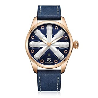 T5 H3632G-B Leather Round Analog Watch for Men - Navy