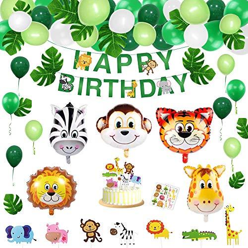 Sinwind Dschungel Geburtstag Deko Junge, Dschungel deko kindergeburtstag, Happy Birthday Banner, Tier-Folienballon Geburtstagsdekoration Kindergeburtstag Party Dekoration. (Dschungel)
