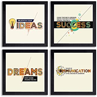 PnF® Set of 4 Motivational QUOTES-028-(28x28inch,Synthetic,Multicolour)
