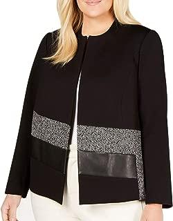Womens Jacket Plus Open Front Textured Black 20W