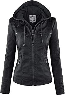 Gothic faux leather Jacket Women hoodies Winter Autumn Motorcycle Jacket Outerwear faux leather PU Jacket-L