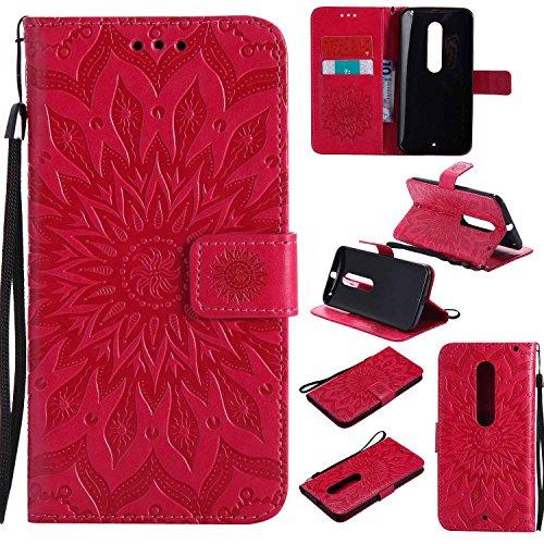 pinlu PU Leder Tasche Etui Schutzhülle für Moto X Style (5,7 Zoll) Lederhülle Schale Flip Cover Tasche mit Standfunktion Sonnenblume Muster Hülle (Rot)
