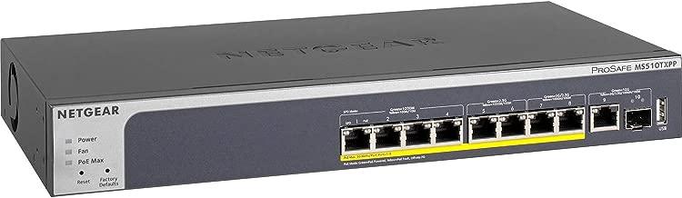NETGEAR 10-Port Multi-Gigabit/10G Smart Managed Pro PoE Switch (MS510TXPP) - with 8 x PoE+ @ 180W, 1 x 10G SFP+, Desktop/Rackmount, and ProSAFE Limited Lifetime Protection