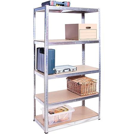 Rangement Garage: 180 cm x 90 cm x 40 cm | Galvanisé - 5 Niveaux | 175 kg par tablette (Capacité Totale de 875 kg) | Garantie de 5 ans