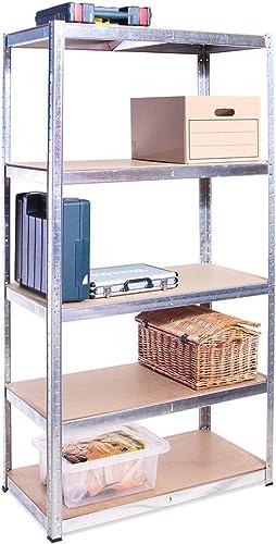 Rangement Garage: 180 cm x 90 cm x 45 cm | Galvanisé - 5 Niveaux | 175 kg par tablette (Capacité Totale de 875 kg) | ...