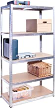 Rangement Garage: 180 cm x 90 cm x 45 cm | Galvanisé - 5 Niveaux | 175 kg par tablette (Capacité Totale de 875 kg) | Garan...