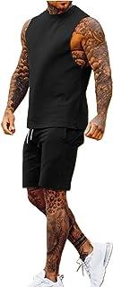 Men's Gym Outfit Set Sleeveless Slim Fit Vest Tank Tops Elastic Waist Pockets Shorts Training Stringers Bodybuilding Fitne...