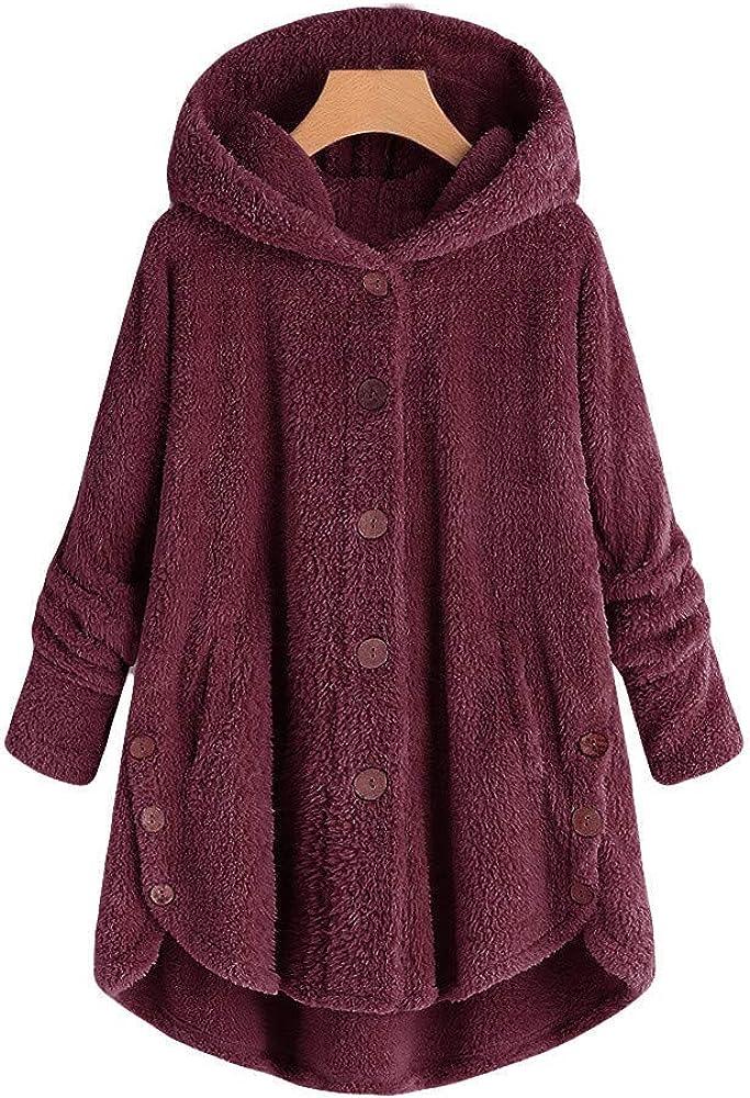 Women Button Down Coat Jacket Plush Faux Shearling Coat Parka  Outwear