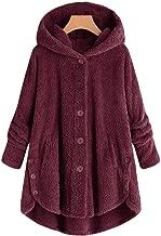TMOTYE Plüschmantel Damen Teddy-Fleece Winter Kapuzenpullover Mantel Einfarbig Langarm Oversize Sweatjacke Outwear Lose Winterpullover Frauen Große Größe Hoodie