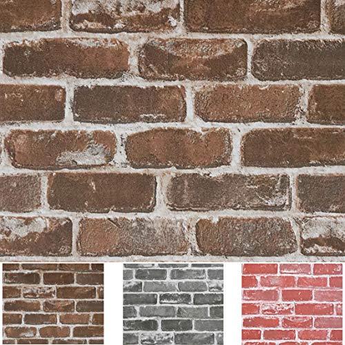 "Timeet 17.7""×197"" 3D Vintage Brown Brick Wallpaper Brick Self Adhesive Film Brick Peel and Stick Wallpaper Brick Wallpaper Brick Faux Textured Wallpaper Stone Look Wall Paper Home Decor Vinyl"